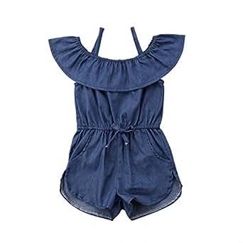c67bd169d244 Amazon.com  Toddler Little Girl Demin Off Shoulder Ruffle Pocket ...
