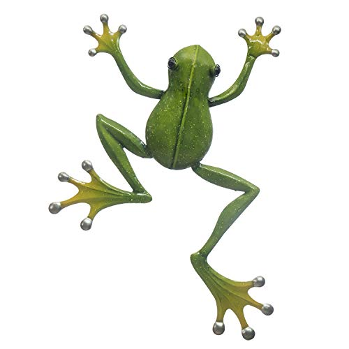 """Frog Wall Decor - 3D Metal Design - 14 ½"""" x 19"""" - Indoor or Covered Outdoor Wall Ornament - Nature Inspired Home Decoration in Popular Colors - Decorative Wall Décor Hanging"""