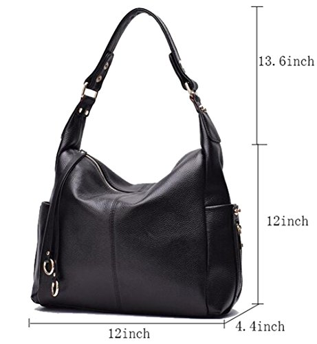 Black Satchels for Women Hobo Leather Luxury FairyBridal Cowhide Genuine Bags 8ZqC8xzA