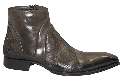 Jo Ghost 464M Italian taupe zip up boots w/design