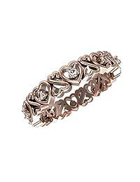 1/10 Carat Heart Shape Ladies Diamond Eternity Ring Band in 10K Rose Gold 0.10 cttw