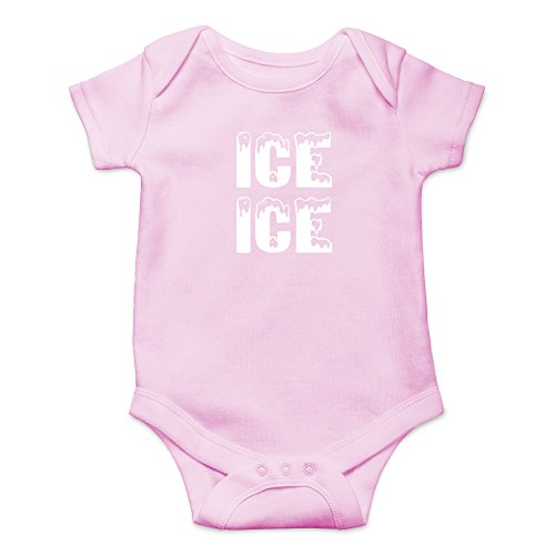 Crazy Bros Tees Ice Ice Baby - Parody Funny Cute Novelty Infant One-Piece Baby Bodysuit (12 Months, Pink) -