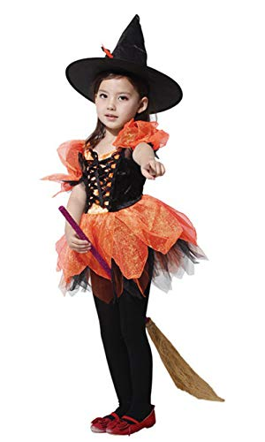 (stylesilove Adorable Little Girls Halloween Costume Party Cosplay Dress (M/4-6 Years, Ballerina Witch))