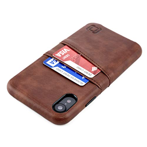 Dockem Exec M2 Wallet Case for iPhone XR; Built-in Invisible Metal Plate, Designed for Magnetic Mounting; Slim Synthetic Leather Card Case with 2 Card Holder Slots; M-Series [Brown]
