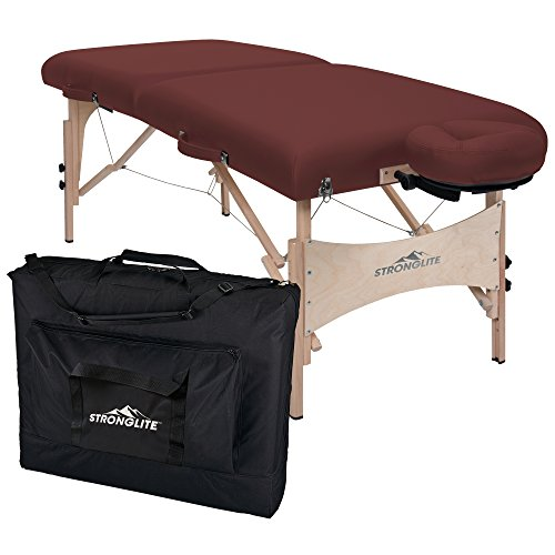 StrongLite Massage Table Package Classic Deluxe – 3 Foam, Reinforced Table Top, Double Knob Leg Extensions incl. Face Cradle, Pillow Carry Case 800lbs Working Weight