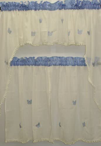 The_Curtain_Shop Butterfly Gingham Embroidered Sheer with Pom-pom Fringe