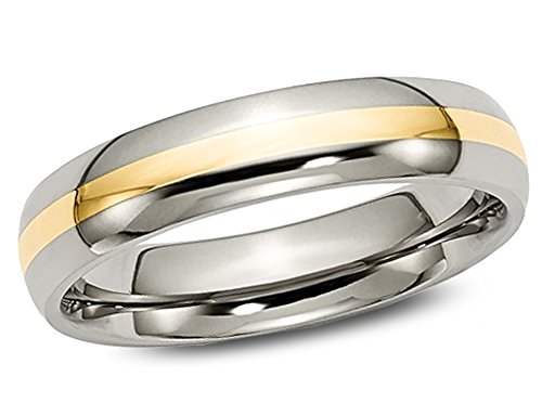 Gem And Harmony Mens Chisel 5mm Comfort Fit Titanium Wedding Band with 14K Gold Inlay from Gem And Harmony
