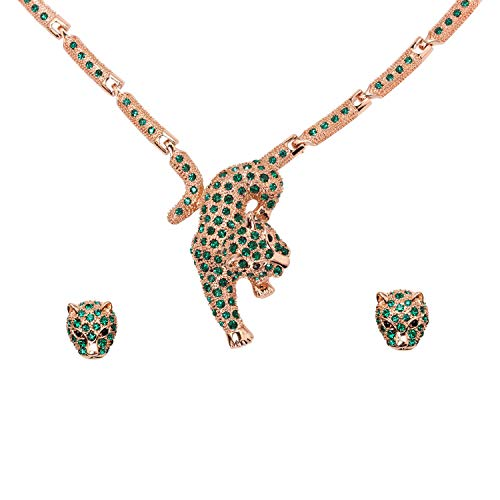Faship Green Rhinestone Crystal Panther Leopard Jaguar Necklace Earrings Set - Green