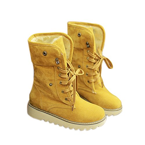 Shoes Boots Matte Suede Ankle Minetom Snow Fashion Yellow Boots Women Winter Shoes Boots Casual tqwFwgnAU