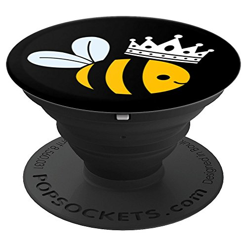 Queen Bee with Cute Bumblebee and Crown Graphic - PopSockets Grip and Stand for Phones and -