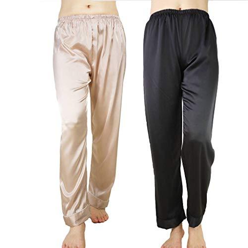 Wantschun Womens Satin Silk Sleepwear Pyjamas Long Pants Nightwear Loungewear Pajamas Bottom Trousers Pack of 2:Champagne+Black US XXS (Tag Size M) -
