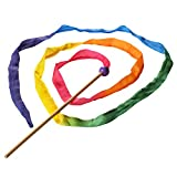 Sarah's Silks - Rainbow Silk Streamer, Baltic Birch Wood, 100% Real Silk, 8-Foot Long 1-Inch Wide Ribbon Dancer Wand (1)