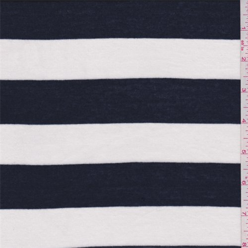Knit Rugby - Navy/White Rugby Stripe Rayon Jersey Knit, Fabric by The Yard
