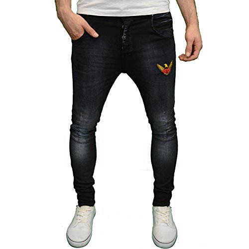 Juice Generation Mens Designer Branded Drop Crotch Skinny Fit Jeans, BNWT (28W x 32L, Black)