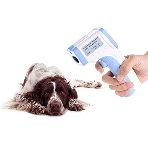 (Decdeal Digital Pet Thermometer Non-Contact Infrared Veterinary Thermometer for Dogs Cats Horses)