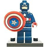 Marvel DC Minifigures Avengers Super Hero Spiderman Superman Batman Iron Man Hulk Thor Mini Figures Fits Lego (Captain America)