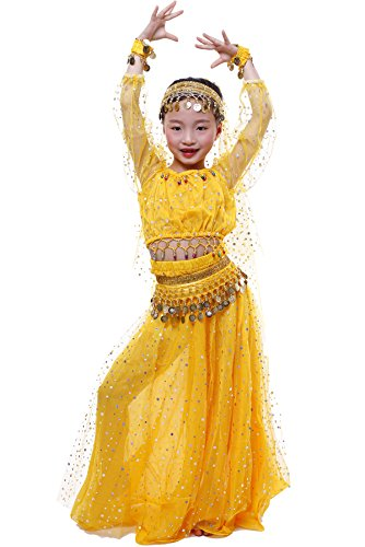 Indian Dance Dress Costume (Astage GilrsElegant Belly Dance Set Golden Waist Chain Yellow S)