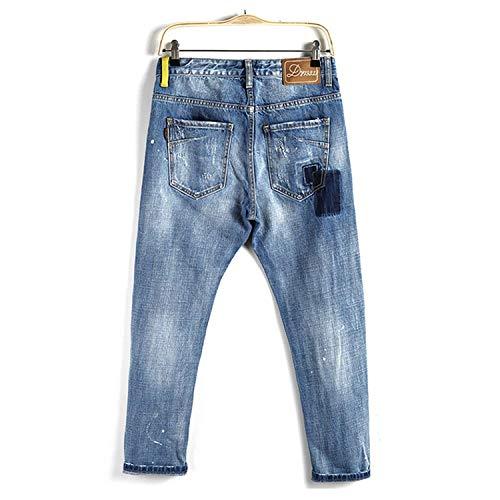 Casual E Usedlook Retrò Comode Denim Da Jeans Di Stretch Strappati Moda Distrutti Lunghi Abiti Uomo Pantaloni Blau Taglie xWqBYzPBn