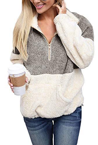 (Yskkt Plus Size Sherpa Pullover Womens Sweatshirt Half Zip Fuzzy Fleece Jacket Winter Coat Outwear with Pockets Light Grey)