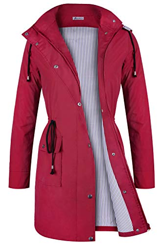 - Twinklady Rain Jacket Women Windbreaker Striped Climbing Raincoats Waterproof Lightweight Outdoor Hooded Trench Coats Red S