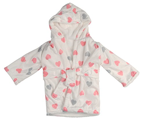 Little Beginnings Plush Mink Fleece Robe, Pink and Grey Hearts