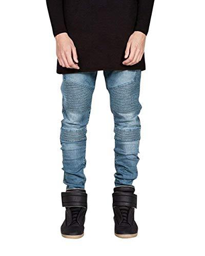 Piccoli Da Denim Elastici Marca Di Alti Mode Hellblau In Motociclista Slim Stropicciati Casual Uomo E Pantaloni Moto Jeans Fit wdFxIpRqwa
