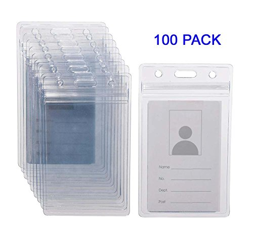 KEYLION 100 Pack ID Card Name Badge Holder, Heavy Duty Clear Transparent Plastic PVC Vertical Sleeve Pouch with Waterproof Type Resealable Zip