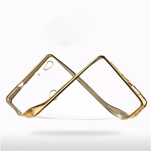 Johra Electroplated Gold Edge Clear Soft Transparent Back Case Cover for Sony Xperia C4