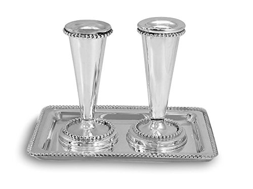 Zion Judaica .925 Sterling Silver Candlesticks Set with Tray - Optional Personalization (Personalized) by Zion Judaica Ltd