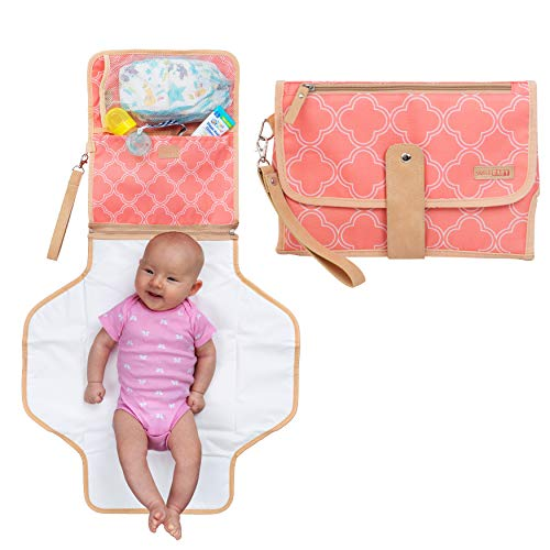 Portable Baby Diaper Changing Clutch Pad for Diaper Bag | Pink | Waterproof Easy Clean Liner & Head Cushion | Travel Organizer with Stroller Strap | Perfect Gift for Girl