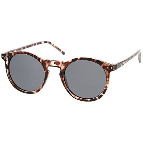 zeroUV - Vintage Retro Horn Rimmed Round Circle Sunglasses with P3 Keyhole Bridge (Tortoise / - Sunglasses Vintage Retro