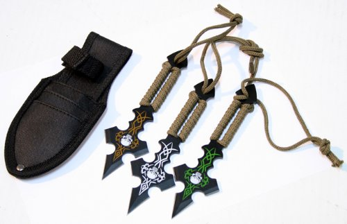 (Set Of 3 Skull Design & Green String Throwing Knives With Sheath)