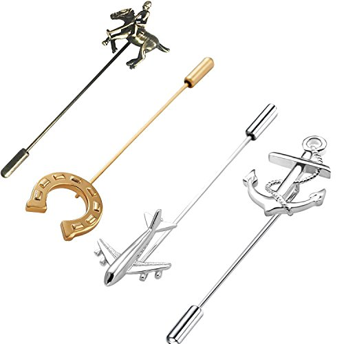 Rhungift 4pcsHorseshoe Polo Plane Anchor Men Metal Brooch Pins Lapel Stick Pin Suit Tie Brooch Badge