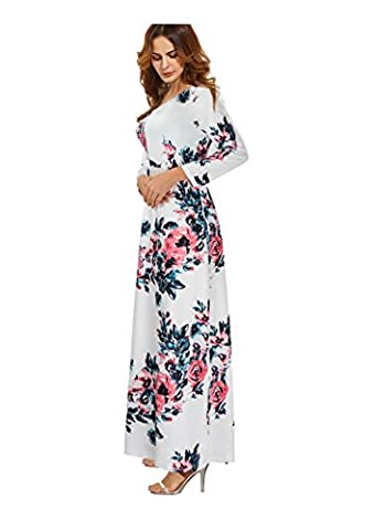 Women's Floral Print Long Sleeve Casual Tunic Maxi Party Dress White L - Maternity Print Tunic