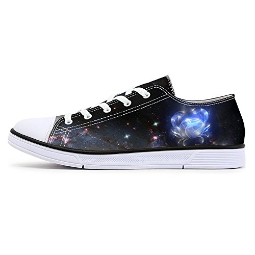 FIRST DANCE Fashion Galaxy Print Women Comfortable Lace up Low Top Canvas Running Sneaker t6tQyiz