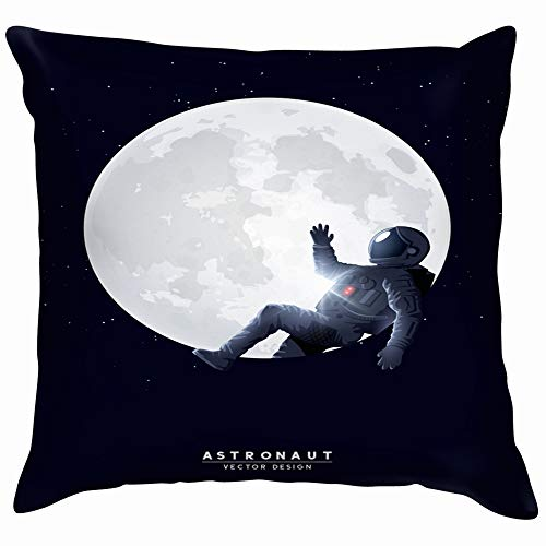 Spaceman Astronaut Relaxing On Moon People Technology Funny Square Throw Pillow Cases Cushion Cover for Bedroom Living Room Decorative 12X12 Inch -