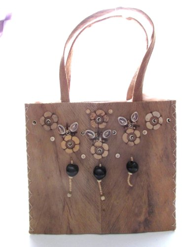 Natural Beads Shells Wood (Eco Friendly Coconut Skin Handbag Decorated with Coconut Shells, Seashells and Wood Beads Made in the Philippines)