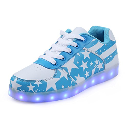 SAGUARO Unisex Women Men USB Charging LED Luminous American Flag Sport Shoes Flashing Sneakers Blue