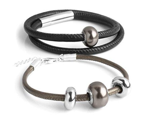 Bracelets For Couple Swarovski Genune Leather Twosome 2602B by Cloisonnekorea