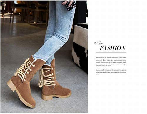 Tacón Medio Mujeres De 35 Zapatos Bajo Marrón botas Encaje 43 Mate Algodón Wsr Para Botas botas Cálido AngRTT
