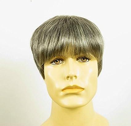 Peluca hombre corto de cabello 100% natural gris mecha blanca ALAN 44