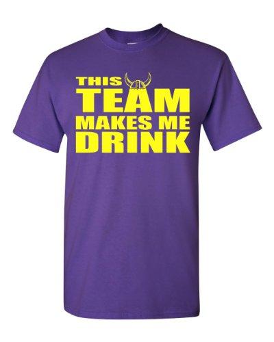 This Team Makes Me Drink Minnesota Adult T-Shirt Tee (Large, Purple w/Yellow)