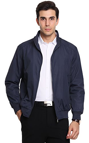 Chouyatou Men's Active Lightweight Softshell Zipper Bomber Jacket (Medium, Dark Blue)