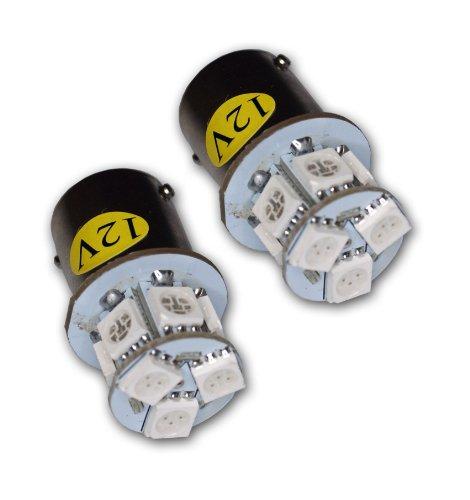 TuningPros LEDRS-1156-YS9 Rear Signal LED Light Bulbs 1156, 9 SMD LED Yellow 2-pc Set