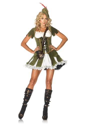 Robin Hood Ladies Fancy Dress (Leg Avenue Women's 3 Piece Thief Of Hearts Robin Hood Costume, Green/Multi, Small/Medium)