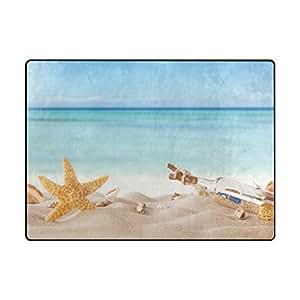Alfombra de verano, diseño de estrella de mar y océano, para entrada de alfombras, felpudo, puerta, alfombrilla, zapatos, rascador, decoración del hogar, 80 x 58 cm, antideslizante, lavable, resistente al desgaste