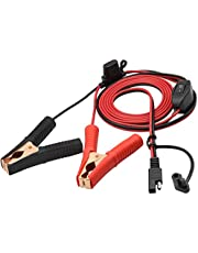 AAOTOKK Crocodile Clip Cable 16 AWG Wire Harness SAE to Battery Alligator Crocodile Clip12V DC Extension Cord with Switch and Fuse Box Quick Connect/Disconnect Snap Action Cable(2.4m/7.8ft -Fuse Box)
