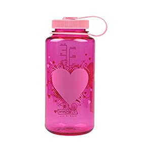 Nalgene Tritan Wide Mouth BPA-Free Water Bottle, Pink Heart, 1 Quart