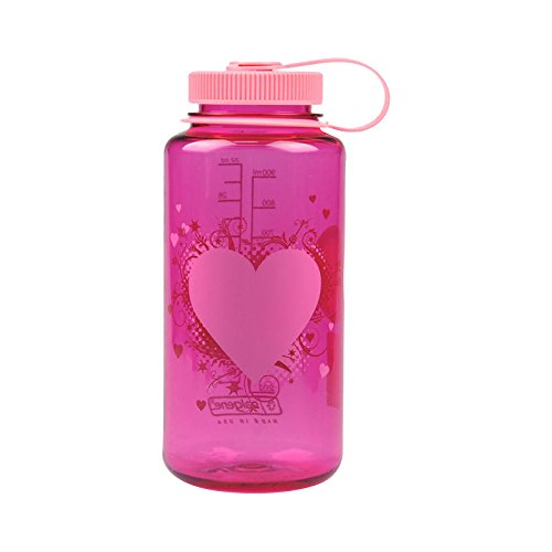 Nalgene Tritan Wide Mouth BPA-Free Water Bottle, Pink Heart, 1 (Bottles Made)