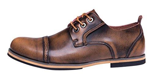 Serene Mens Comfortable Cap Toe Leather Lace-Up Soft Low Top Casual Shoes Oxfords (6.5D(M)US, (Walker Plain Toe Oxford)